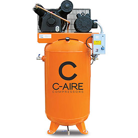 C-AIRE A050V080-3230 Two Stage Air Compressor, 5 HP, 230V, 3PH, 80 Gal. Vertical Tank by