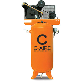 C-AIRE A050V60-1230 Two Stage Air Compressor, 5 HP, 230V, 1PH, Gal. Vertical Tank by