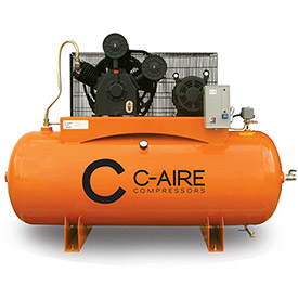 Click here to buy C-AIRE A075H080-3230 Two Stage Air Compressor, 7.5 HP, 230V, 3PH, 80 Gal. Horizontal Tank.