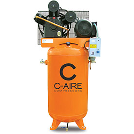 Click here to buy C-AIRE A075V080-3230 Two Stage Air Compressor, 7.5 HP, 230V, 3PH, 80 Gal. Vertical Tank.
