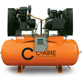 Click here to buy C-AIRE A100D120-3230 Two Stage Air Compressor, 10 HP, 3PH, 120 Gal. Duplex Horizontal Tank.