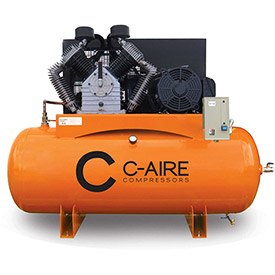 C-AIRE A150H120-3230 Two Stage Air Compressor, 15 HP, 230V, 3PH, 120 Gal. Horizontal Tank by