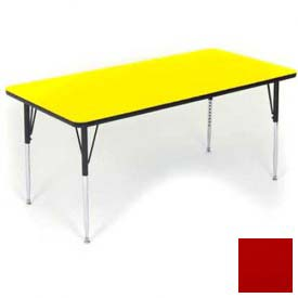 """Activity Tables, 48""""L x 24""""W, Juvenile Height, Rectangular - Red"""