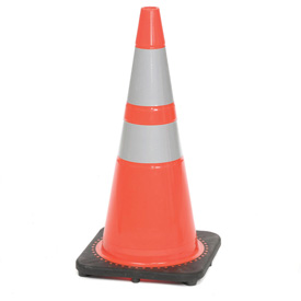 "28"" Solid Orange Cone W/ Black Base & 6""+ 4"" Reflective"