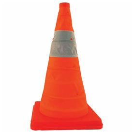 """Cortina 28"""" Pack N Pop Collapsible Traffic Cone, Orange, Plastic Base, 5/Pack, 03-501-03 by"""