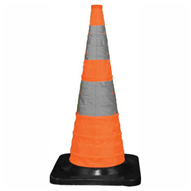 """Cortina 30"""" Pack N Pop Collapsible Traffic Cone, 4 LED Lights, Orange, Black Rubber Base, 03-501-04 by"""