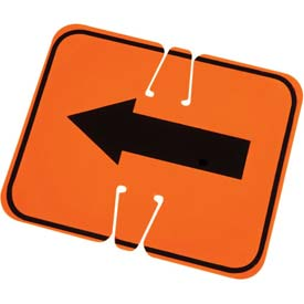 Cone Sign- Keep Left, Black On Orange W/ Arrow - Pkg Qty 5