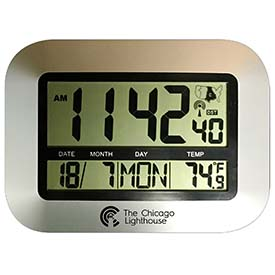 "Buy Chicago Lighthouse 9.75"" Digital Atomic Clock with Calendar and Indoor Temperature Display Silver"