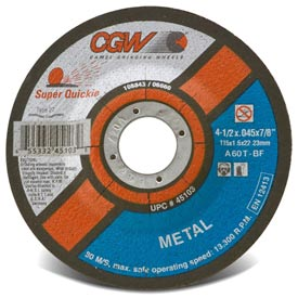 "CGW Abrasives 45098 Cut-Off Wheel 6"" x 7/8"" 60 Grit Type 27 Aluminum Oxide - Pkg Qty 50"