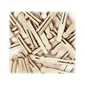 """Chenille Kraft® Flat-slotted Clothes Pins, 3-3/4""""L, Natural, 40/Pack"""