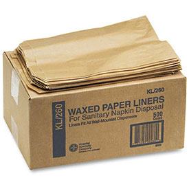 Kraft Waxed Paper Sanitary Napkin Receptacle Liners, 500 Liners per Carton - HOS260