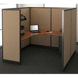"Compatico CMW Single Work Station w/o Electric 78""W x 78""D x 65""H - Winter Birch Taupe"