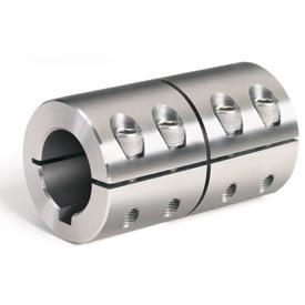 "One-Piece Industry Standard Clamping Couplings w/Keyway, 2"", Stainless Steel"