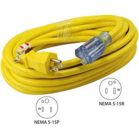 Conntek 20251-025, 25', 12/3 SJTW Outdoor Extension Cord with lighted NEMA 5-15P/R by