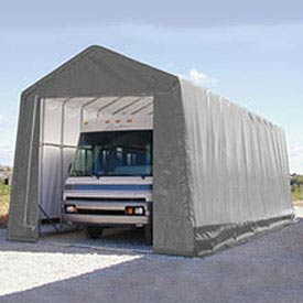 RV and Boat Storage Building 14'W x 16'H x 32'L - Silver/White