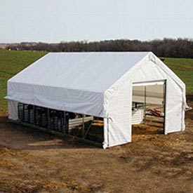 Moo-Tel Calf Nursery w/ Open Ends 18'W x 20'L White