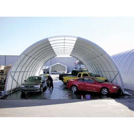 """Freestanding Poly Building 42'W x 17'3""""H x 72'L Gray 4' Rafter spacing"""