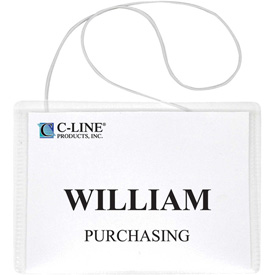 "C-Line® Hanging Style Name Badge with Elastic Cord, 4"" x 3"", Clear, 50/Box"