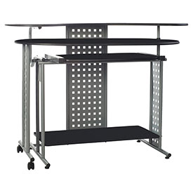 OneSpace 50-100705 Regallo Expandable L-Shaped Computer Desk, Black