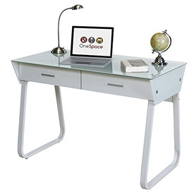 OneSpace 50-JN1301 Ultramodern Glass Computer Desk with Drawers, White by