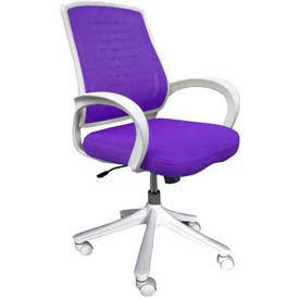 Iona Mesh Chair with White Frame, Purple Seat & Back