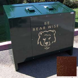 BearSaver BE Series 140 Gal. Animal Resistant Double Recycling Receptacle -Brown