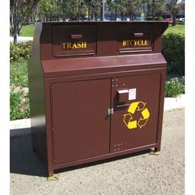 BearSaver CE Series 80 Gal. Animal Resistant Double Waste/Recycle Receptacle-BN