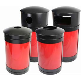 SECURR® Guardian 35 Gal. Outdoor Recycling Receptacle - Two Tone Black with Red Panels