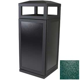 SECURR® Sentinel 36 Gal. Outdoor Waste Receptacle - Black w/ Green Side Panels