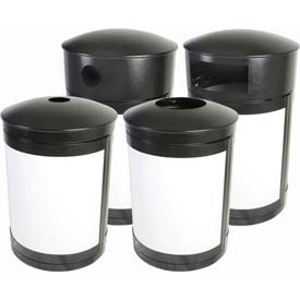 SECURR® Guardian 55 Gal. Outdoor Waste Receptacle - Two Tone Black with Steel Blue Panels