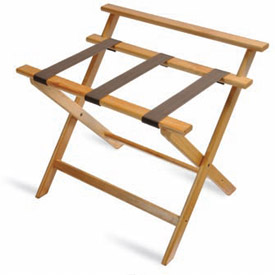 Deluxe High Back Wood Luggage Rack, Light Oak, Brown Straps 3 Pack - Pkg Qty 3