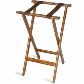 "Flat Wood Tray Stand, 18-1/2"" x 17"" Top x 30"" High, 2-1/4"" Black Straps (4 Per Case)"