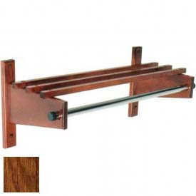 "30"" Wood Coat Rack with Wood Top Bars & 1"" Hanging Rod, Dark Oak"