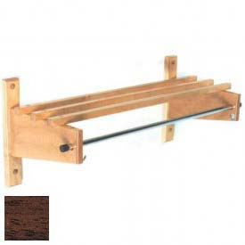 "36"" Deluxe Wood Coat Rack with Wood Top Bars & 5/8"" Mini Rod, Mahogany"