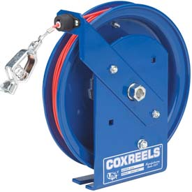 Coxreels SD-100-1 Spring Rewind Static Discharge Cable Reel, 100' Stainless Steel Cable, w/50A Clamp