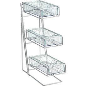 "Cal-Mil 1235-39-60 3 Tier Flatware Display With Bamboo Bins 5-1/4""W x 14""D x 18""H Silver by"