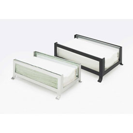 "Cal-Mil 1588-33 Soho 4"" x 8"" Napkin Holder 9-1/2""W x 9-1/4""D x 3-1/2""H Black Frame Frosted Glass by"