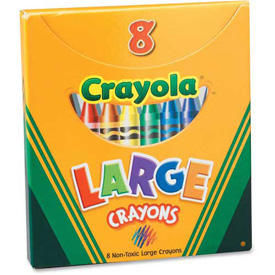 Crayola® Large Crayons, Nontoxic, Assorted, 8/Box
