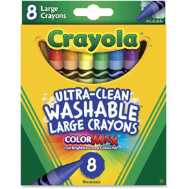 Crayola® Large Washable Crayons, Nontoxic, Assorted, 8/Box