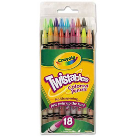 Crayola® Twistable Colored Pencils, Nontoxic, Assorted Colors, 18/Pack