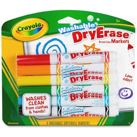 Crayola® Washable Dry-Erase Markers, Broad Line, Nontoxic, Assorted, 6/Pack