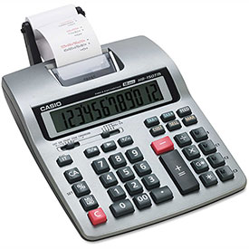 Click here to buy Casio HR-150TM Two-Color Printing Calculator, Black/Red Print.