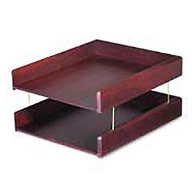 Genuine Hardwood Double Desk Tray, Letter Size, Mahogany Finish