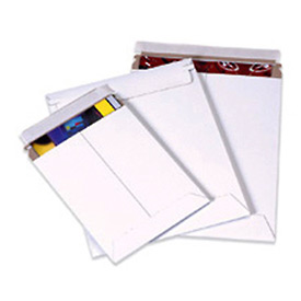 "Self-Seal Stayflat Mailer, 9-3/4""W x 12-1/4""L, White, 100 Pack"