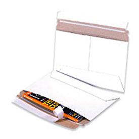 "Side Loading Stayflat Mailer, 12-1/4""W x 9-3/4""L, White, 100 Pack"
