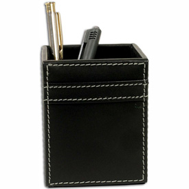 DACASSO Rustic Black Leather Pencil Cup by