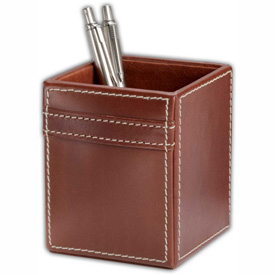 DACASSO Rustic Brown Leather Pencil Cup by