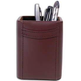 DACASSO Chocolate Brown Leather Pencil Cup by