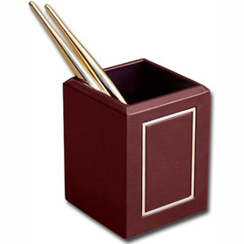 DACASSO Burgundy 24Kt Gold Tooled Pencil Cup by