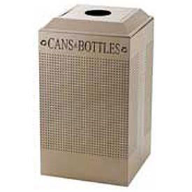 Rubbermaid® Silhouette DCR24C Recycling Container w/Can & Bottle Opening, 29 Gal - Desert Pearl